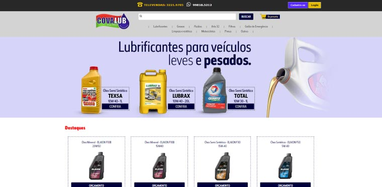 Site Covalub - Distribuidora Automotiva